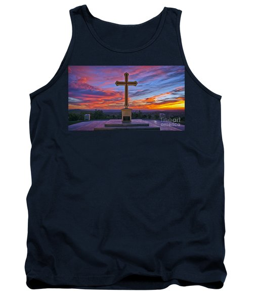 Christian Cross And Amazing Sunset Tank Top