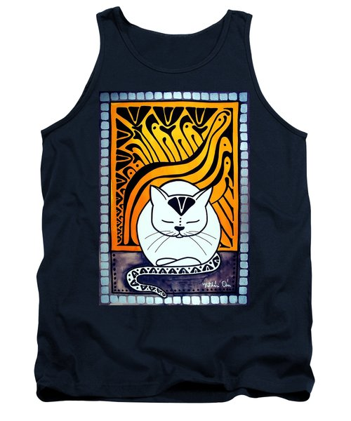 Tank Top featuring the painting Meditation - Cat Art By Dora Hathazi Mendes by Dora Hathazi Mendes