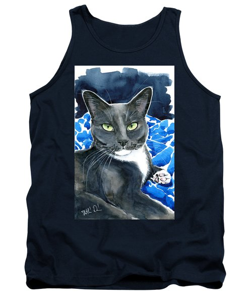 Melo - Blue Tuxedo Cat Painting Tank Top