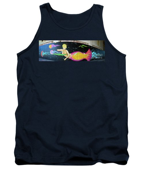 Tank Top featuring the photograph Mermaid And Jellyfish Panoramic by Colleen Kammerer