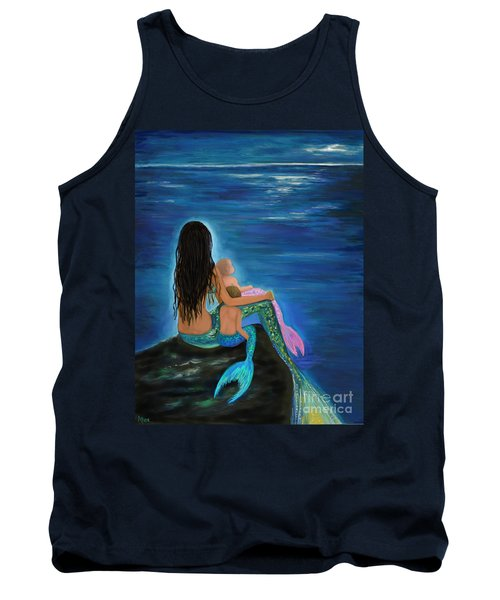 Tank Top featuring the painting Mermaids Sweet Little Ones by Leslie Allen