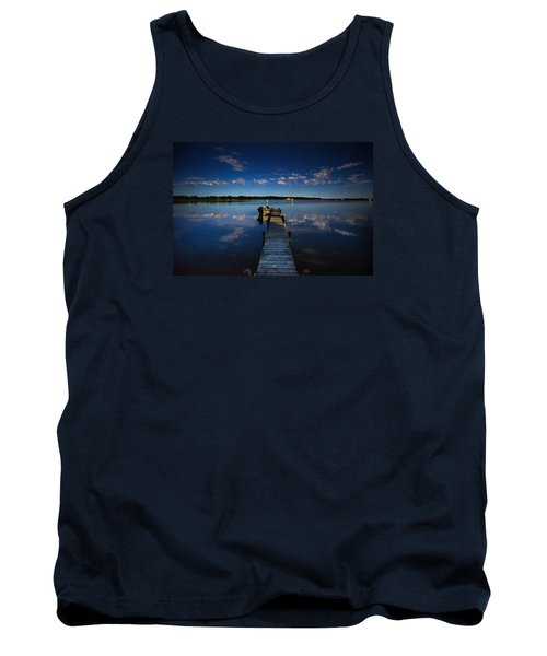 Midnight At Shady Shore On Moose Lake Minnesota Tank Top by Alex Blondeau
