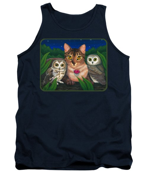 Tank Top featuring the painting Midnight Watching - Abyssinian Cat Saw Whet Owls by Carrie Hawks