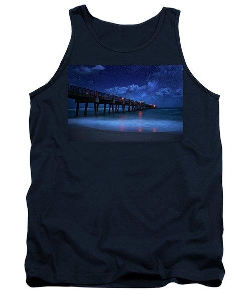 Milky Way Over Juno Beach Pier Under Moonlight Tank Top