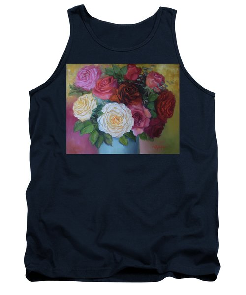 Mixed Roses In Turquoise Vase Tank Top