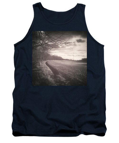 #monochrome #landscape  #field #trees Tank Top