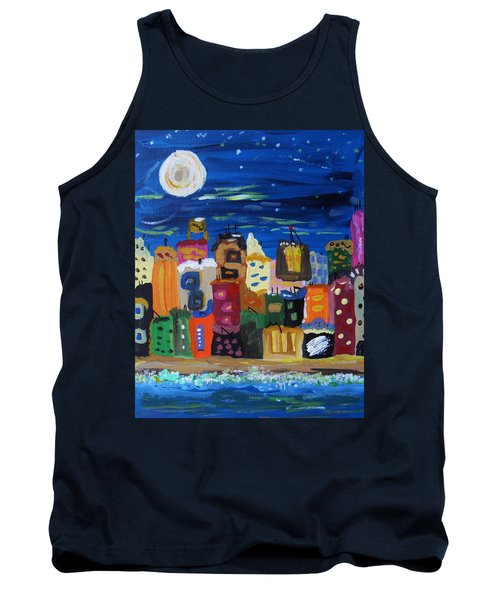 Moon And Sea Waves Tank Top by Mary Carol Williams