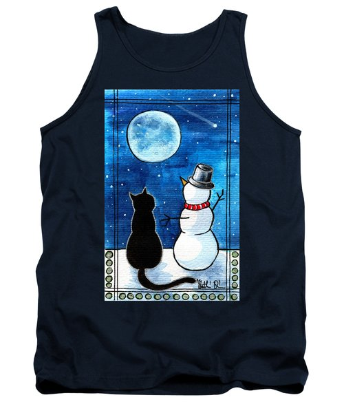 Moon Watching With Snowman - Christmas Cat Tank Top