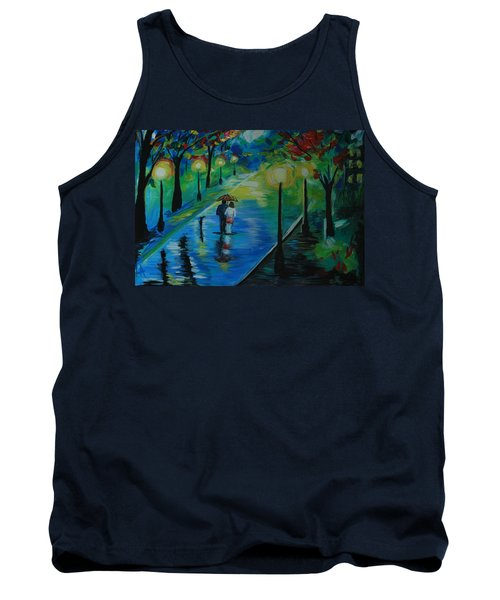 Tank Top featuring the painting Moonlight Stroll by Leslie Allen