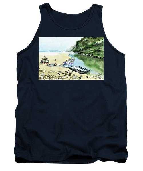 Tank Top featuring the painting Morning At Porto Novo Beach by Dora Hathazi Mendes