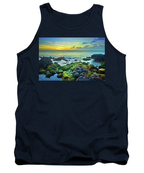 Tank Top featuring the photograph Moss Covered Rocks At Sunset In Molokai by Tara Turner