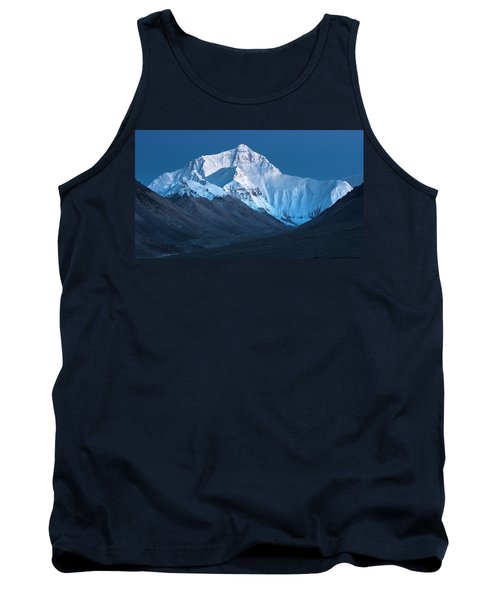 Tank Top featuring the photograph Mount Everest At Blue Hour, Rongbuk, 2007 by Hitendra SINKAR