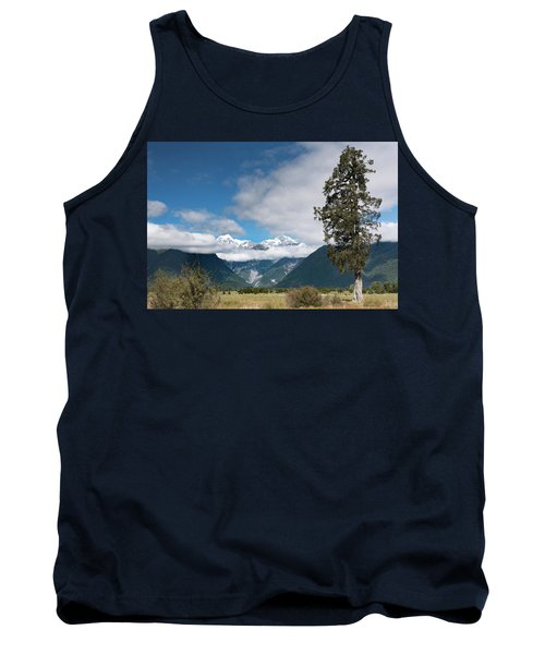 Tank Top featuring the photograph Mountains And Tree, Lake Matheson by Gary Eason