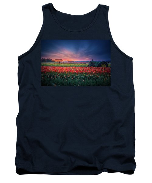 Mt. Hood And Tulip Field At Dawn Tank Top