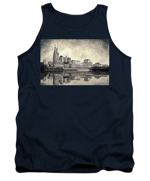 Tank Top featuring the mixed media Nashville Skyline II by Janet King