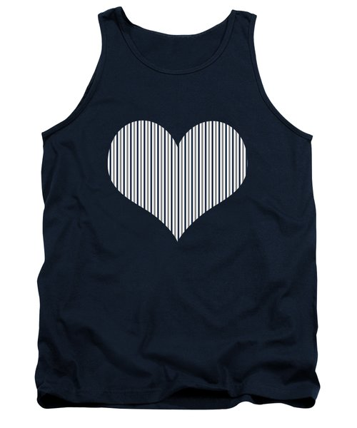Navy White And Grey Vertical Stripes Tank Top