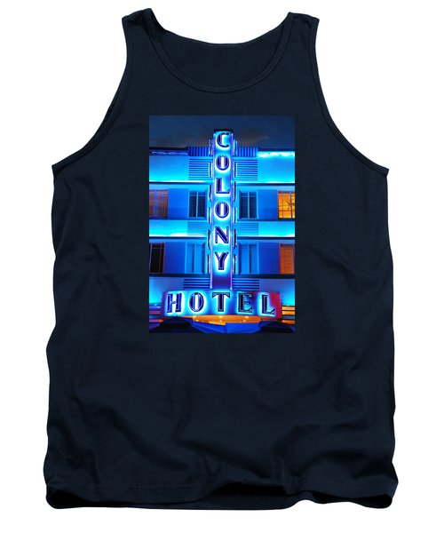 Neon Lights Of The Colony Hotel, Miami Beach Tank Top by James Kirkikis
