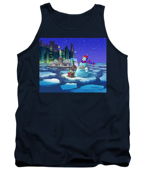 New York Snowman Tank Top by Michael Humphries