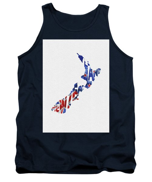 New Zealand Typographic Map Flag Tank Top
