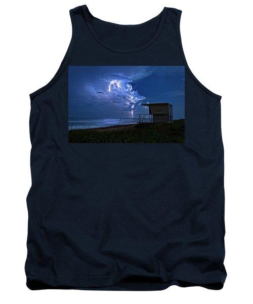 Night Lightning Under Full Moon Over Hobe Sound Beach, Florida Tank Top