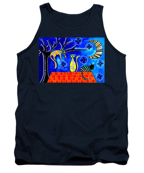 Tank Top featuring the painting Night Shift - Cat Art By Dora Hathazi Mendes by Dora Hathazi Mendes