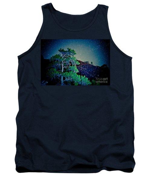 Night Sky Scene With Pine And Stars Artmif.lv Tank Top