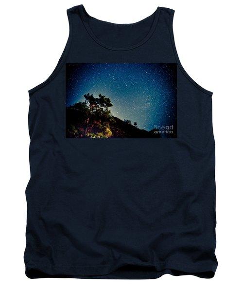 Night Sky Scene With Pine And Stars Tank Top