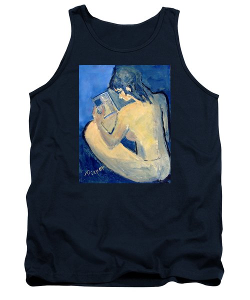 Nude With Nose In Book Tank Top by Betty Pieper