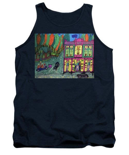 Tank Top featuring the drawing Oddfellows Building. Historical Menominee Art. by Jonathon Hansen