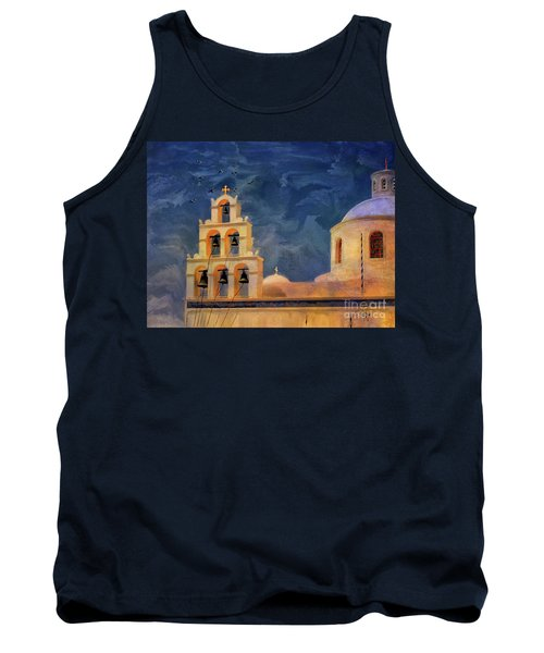 Tank Top featuring the photograph Oia Sunset Imagined by Lois Bryan