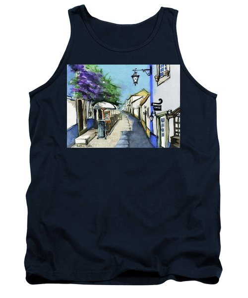 Tank Top featuring the painting Old Street In Obidos, Portugal by Dora Hathazi Mendes