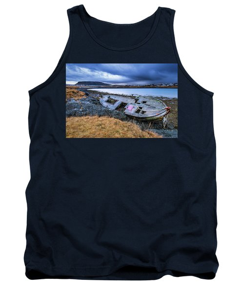 Old Wooden Ship On Beach Tank Top