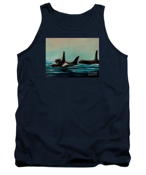 Tank Top featuring the painting Orca's by Annemeet Hasidi- van der Leij