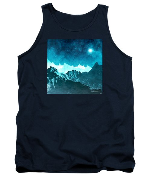 Tank Top featuring the digital art Outer Space Mountains by Phil Perkins