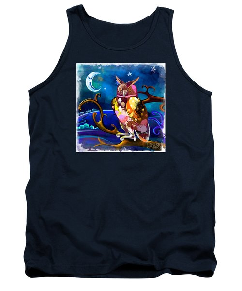 Owl Watching The Moon Tank Top