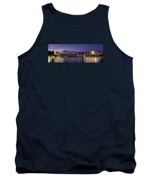 Panorama Of Waco Suspension Bridge Over The Brazos River At Twilight - Waco Central Texas Tank Top