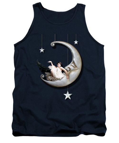 Tank Top featuring the digital art Paper Moon by Linda Lees