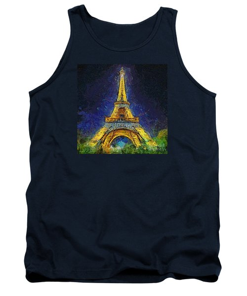 Tank Top featuring the painting Paris By Night by Dragica  Micki Fortuna