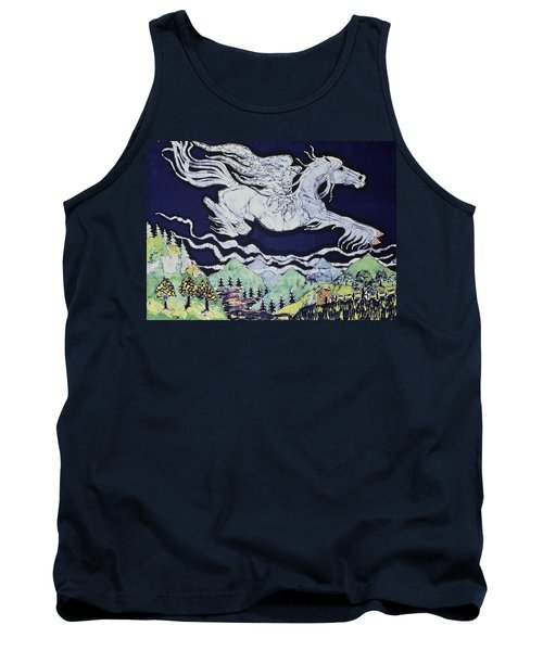 Pegasus Flying Over Stream Tank Top