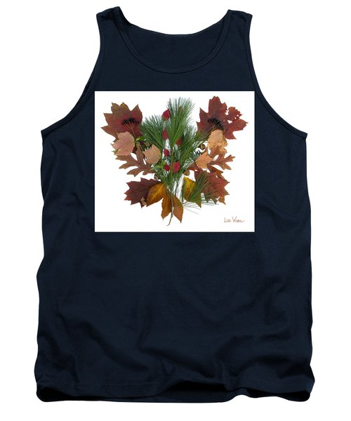 Tank Top featuring the digital art Pine And Leaf Bouquet by Lise Winne