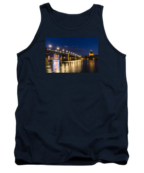 Tank Top featuring the photograph Pont Saint-pierre With Street Lanterns At Night by Semmick Photo