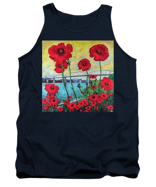 Poppies Along The Riverfront Tank Top