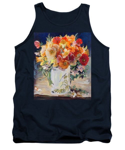 Tank Top featuring the painting Poppies, Clematis, And Daffodils In Porcelain Vase. by Ryn Shell