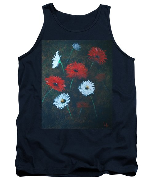 Tank Top featuring the painting Poppin Daisies by Leslie Allen