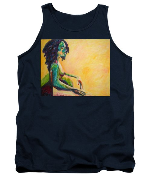 Tank Top featuring the painting Pregnant Woman In Yellow by Esther Newman-Cohen