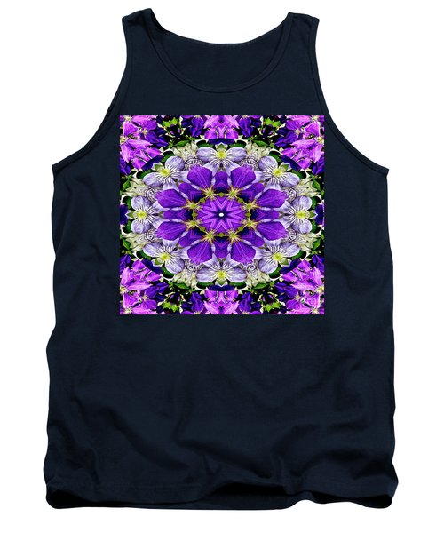Purple Passion Floral Design Tank Top by Carol F Austin