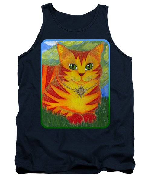 Rajah Golden Sun Cat Tank Top by Carrie Hawks