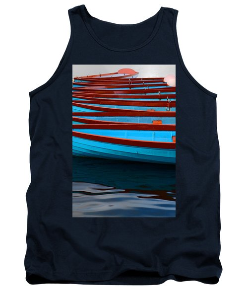 Red And Blue Paddle Boats Tank Top