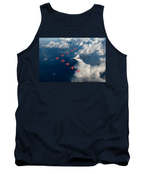 Red Arrows And Vulcan Above Clouds Tank Top