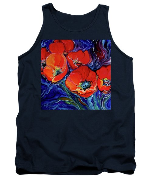 Red Floral Abstract Tank Top by Marcia Baldwin